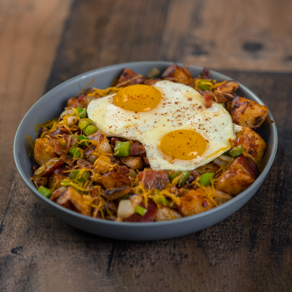 Bacon (or Sausage) Loaded Home Fry Bowl